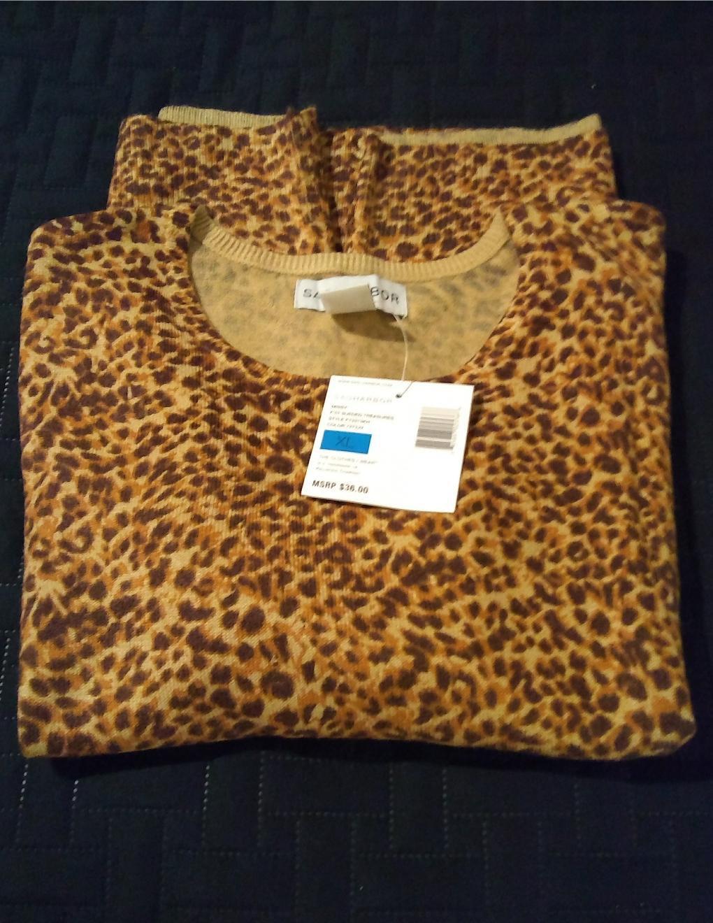 Sag Harbor Sueded Treasures Animal Print Sweater Top Shirt Brown Tan Sz. Small NEW