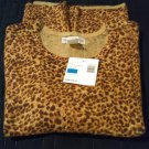 Sag Harbor Sueded Treasures Animal Print Sweater Top Shirt Brown Tan Sz. Small NEW