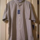 Mens Croft & Barrow Tan Plaid Classic-Fit Easy Care Button-Down Collar Dress Short Sleeves Small NEW