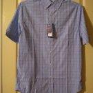 Mens Croft & Barrow Blue Plaid Classic-Fit Easy Care Button-Down Collar Dress Short Sleeves XXL NEW