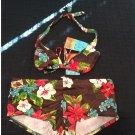 NEW Juniors Size M 7/9 2 Piece Swimsuit Swim Suit Boy Shorts + Halter Top Brown Floral