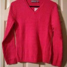 Croft & Barrow Blush Rose Sz Medium Petite Womens Long Sleeves V-Neck Sweater Cableknit Design