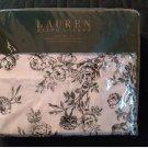 Lauren Ralph Lauren BLACK White Toile ROSE FLORAL 4-pc 100% Cotton Queen Sheet Set NEW