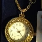 Womens Gold Tone Watch Pendant Necklace Magnifying Cover NEW with Gift Box