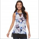 Jennifer Lopez Floral Blue High-Low Mesh Insert Tank Top Womens Size XXL or 2XL NEW