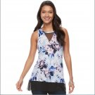 Jennifer Lopez Floral Blue High-Low Mesh Insert Tank Top Womens Size XL or Extra Large NEW