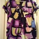 Vera Wang Women's Stain Glass Geometric Tie Pack Shirt Top Purple Womens Top NEW Size Small