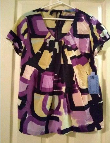 Vera Wang Women's Stain Glass Geometric Tie Pack Shirt Top Purple Womens Top NEW Size Small