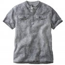 Helix Military Henley T-Shirt Tee Distressed Gray Black Sz 2XL or XXL Young Mens NEW