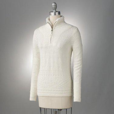 Womens Textured 1/4-Zip Sweater by Croft Barrow Ivory Size Medium NEW