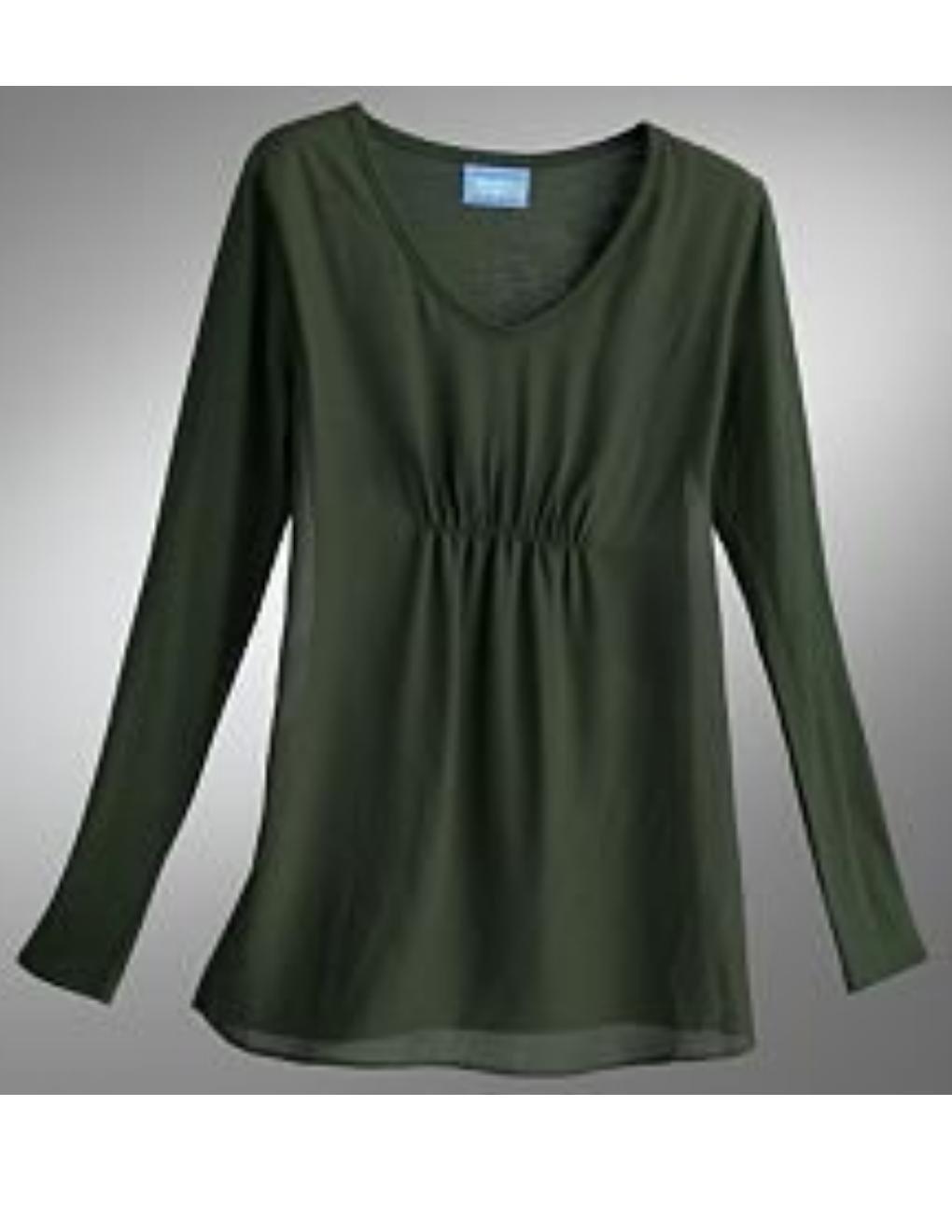 Vera Wang Ruched Chiffon Top or Shirt Long Sleeves Green Sz. Small NEW