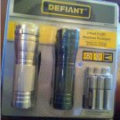 Defiant Compact 9 LED Aluminum Flashlights Tactical 2-pack + 6 AAA Batteries (1Silver/1Green)