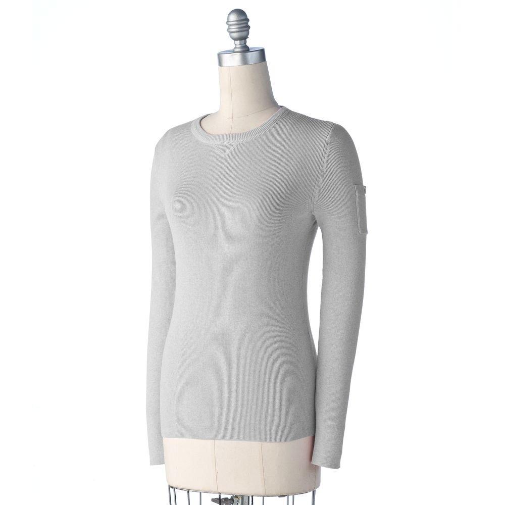 Sonoma Womens Sweater Long Sleeves Solid Light Gray Sweater Sz. Medium NEW