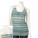 Juniors Teens Girls BLUE IKAT Crochet Top by MUDD Extra Extra Large 2XL or XXL NEW