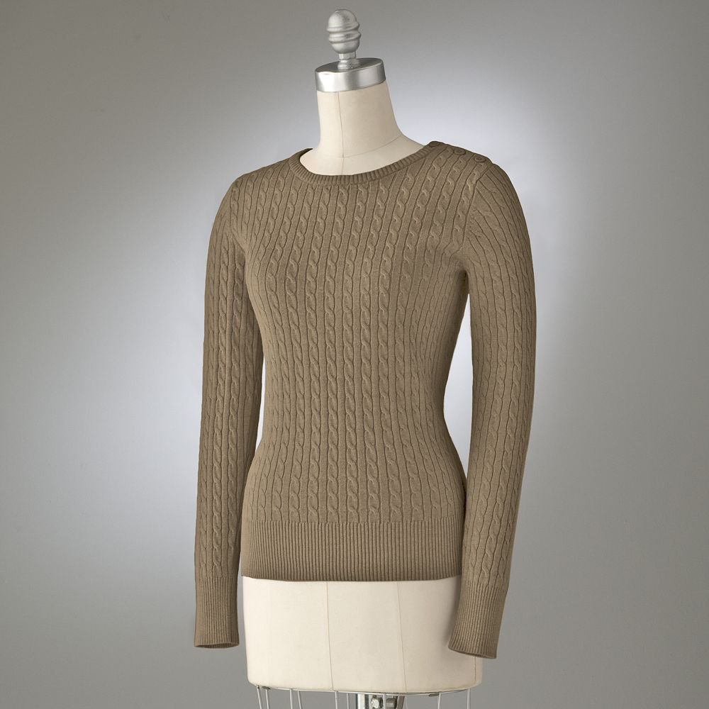 Womens CableKnit Cable Kit Sweater Long Sleeve Extra Large in Tan with TAGS