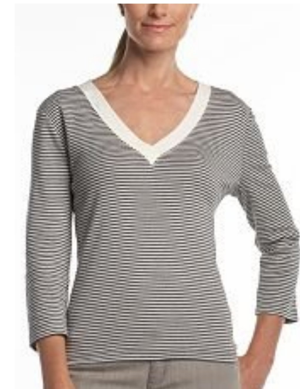 Chaps Womens Striped Top or Shirt V Neck Size Large Cream and GRAY with TAGS