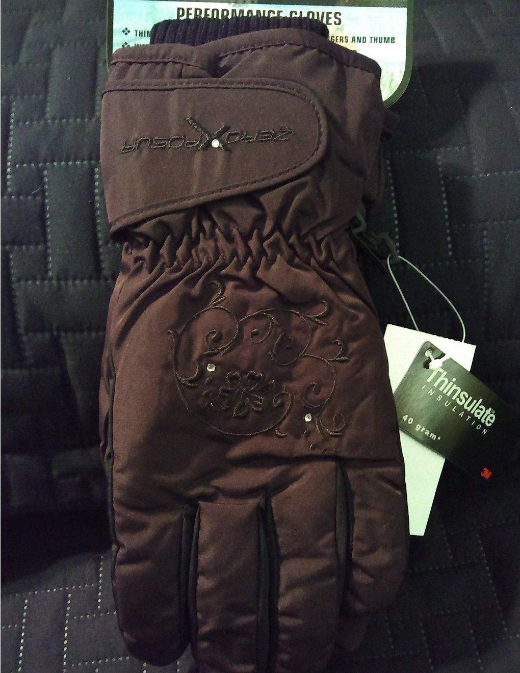 New ZeroXposur Brand Womens Rhinestone Performance Gloves M/L Brown Thinsulate Lining