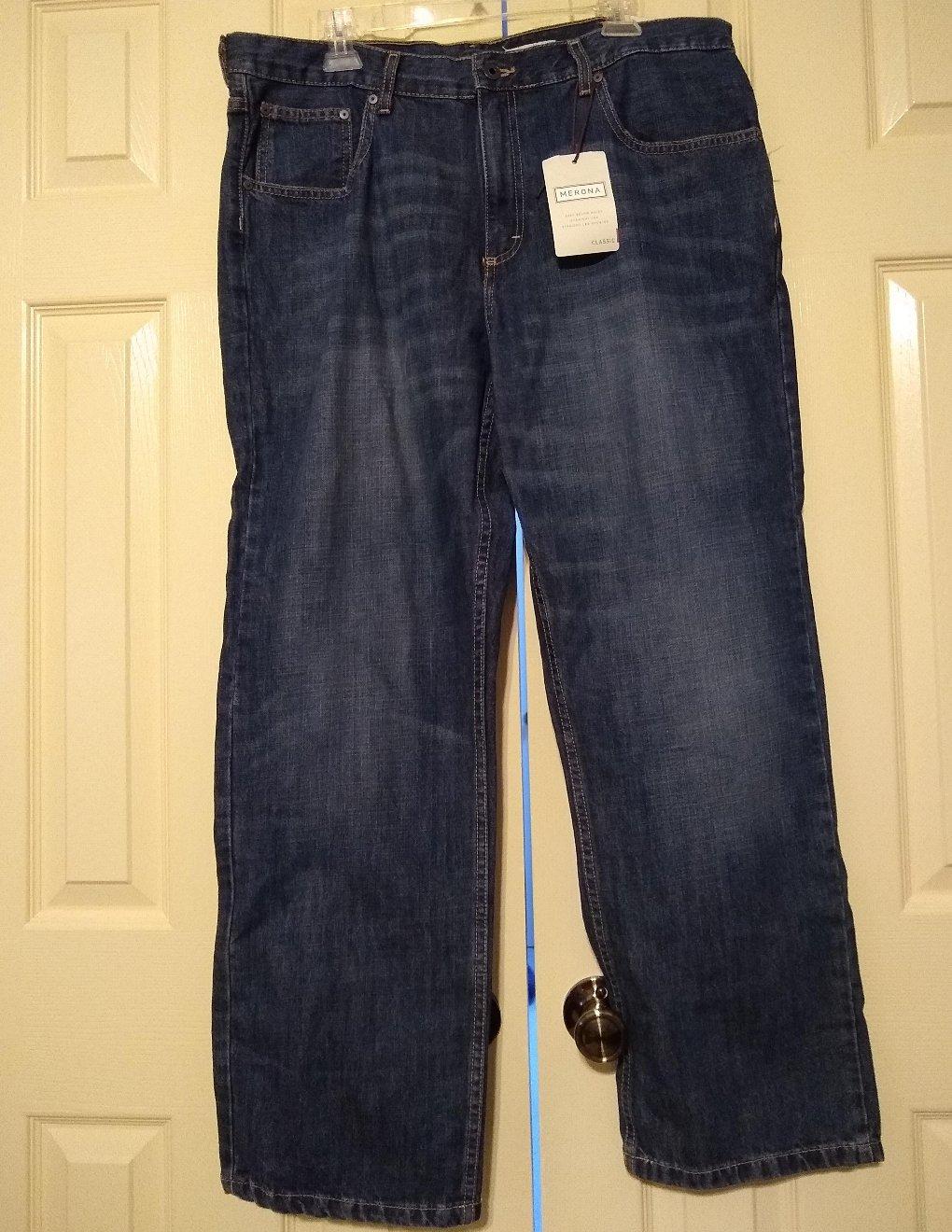 Mens CLASSIC Merona Brand 5 Pocket Jeans Dark Wash 38 x 30 100% Cotton NEW