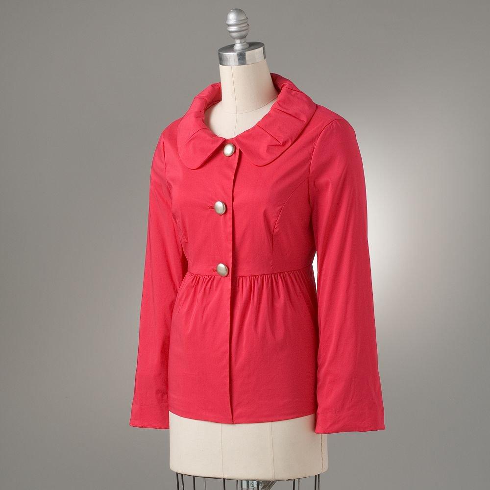 NEW AB STUDIO Womens Pleated BabyDoll Jacket Black Bright Pink Size 8 Long Slvs