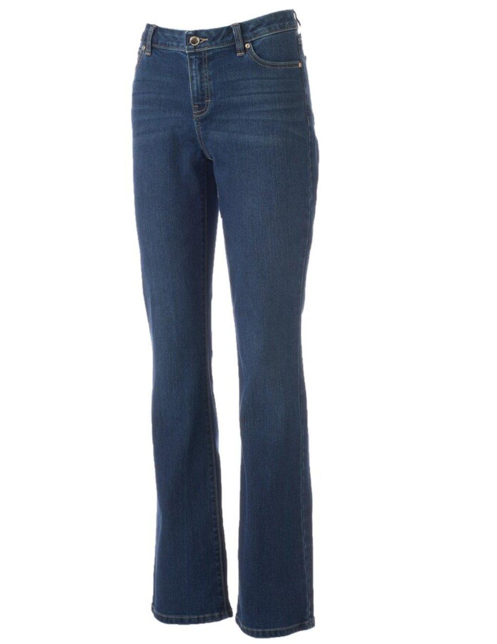 NEW Womens Jennifer Lopez Curvy Fit Stretch Bootcut Jeans Sz 2 in Medium Wash Luminous