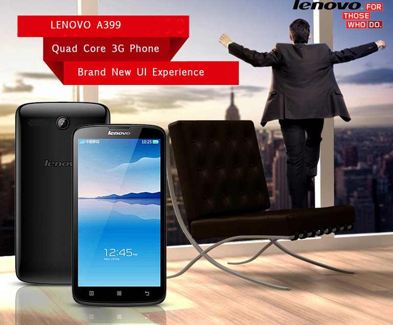 "LENOVO A399 5"" IPS MTK6582M Quad-core Android 4.4 3G Phone 2MP CAM 512MB RAM 4GB ROM P05-LA399"