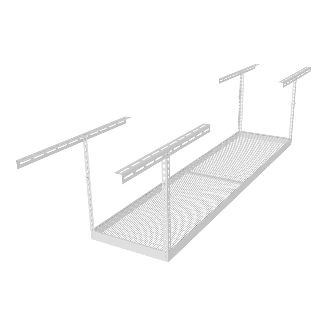 "MonsterRax (MR-2x8-W Pack 18) 2'x8' Overhead Storage Rack 18"" to 33"" Drop - White"