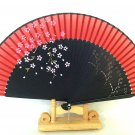 Wedding Bridal Folding Fan Bamboo  Silk  Handfan in Cherry Blossom Flower Design Red Color