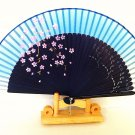 Wedding Bridal Folding Fan Bamboo  Silk  Handfan in Cherry Blossom Flower Deesign Blue  Color