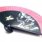 Hand Spray Painted Bamboo  Handfan Folding Fan 201001 Pink with Geisha Girl Graphic Design