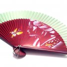 Japanese Hand Folding Fan 201003 with Geisha Girl and Butterfly Design Green Fabric Color