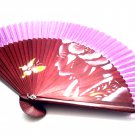 Japanese Hand Folding Fan 201004 with Geisha Girl and Butterfly Design Purple Fabric Color
