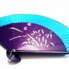 Chinese Hand Folding Fan 201005 with Orchid Flower Design Blue Fabric Color