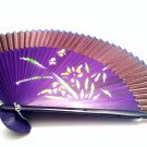 Bamboo  Folding Hand Fan 201006 with Orchid Flower Design Brown Fabric Color