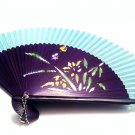 Wedding Favors Folding Handfan 201007 with Orchid Flower Design Green Fabric Color