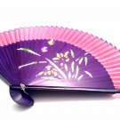 Wedding Favors Folding Handfan 201008 with Orchid Flower Design Green Fabric Color