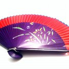 Bridal Red Color Spray Painted Folding Handfan 201009 with Orchid Flower Design
