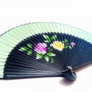 Bridal Folding Handfan Spray Painted 201010 with Peony Flower Design Green Color