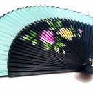 Bridal Folding Handfan Spray Painted 201011 with Peony Flower Design Light Blue Color