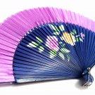 Wedding Fan Folding Handfan 201013 Spray Painted with Peony Flower Design Light Purple Color