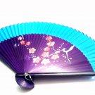 Blue Color Wedding Fan Folding Handfan 201015 Spray Painted with Plum Flower Design