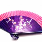 Chinese Wedding Fan Folding Handfan 201017 Spray Painted Plum Flower Design Pink