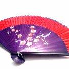 Chinese Wedding Fan Folding Handfan 201018 Spray Painted Plum Flower Design Red