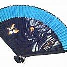 Chinese Bamboo Fan Folding Handfan 201019 Spray Painted Asian Beauty Design Blue