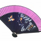 Bamboo Folding Handfan 201020 Spray Painted Asian Beauty Design Purple
