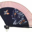 Bamboo Folding Handfan 201021 Spray Painted Asian Beauty Design Purple