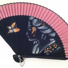 Bamboo Folding Handfan 201022 Spray Painted Asian Beauty Design Rose Pink
