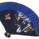 Bamboo Folding Handfan 201023 Spray Painted Asian Beauty Design Dark Blue