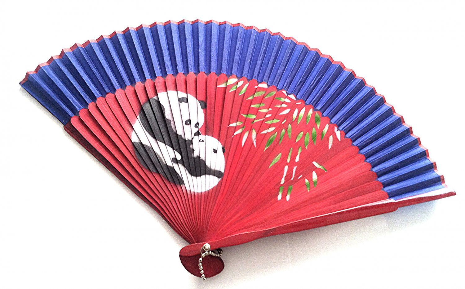 Panda Design Bamboo Folding Fan Handfan 201025 Spray Painted  with Dark Blue Fabric Color
