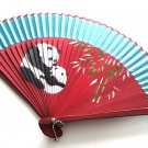 Cute Panda Mother and Baby  Bamboo Folding Fan Handfan 201026 Spray Painted  with Blue Fabric Color