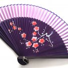Plum Flower Design Bamboo Folding Fan Handfan 201028 Spray Painted with light purple Fabric Color